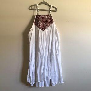 Dresses & Skirts - White M Mini Dress with Maroon Pattern